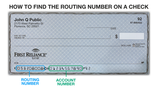 How to find routing number on check - separated out digits to the bottom left on your check