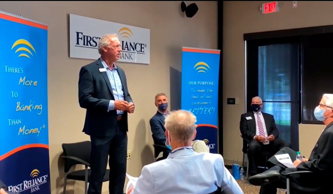 Congressman Rice and Fred Green, South Carolina Bankers Association President and CEO listen to business customers at a Roundtable hosted by First Reliance Bank